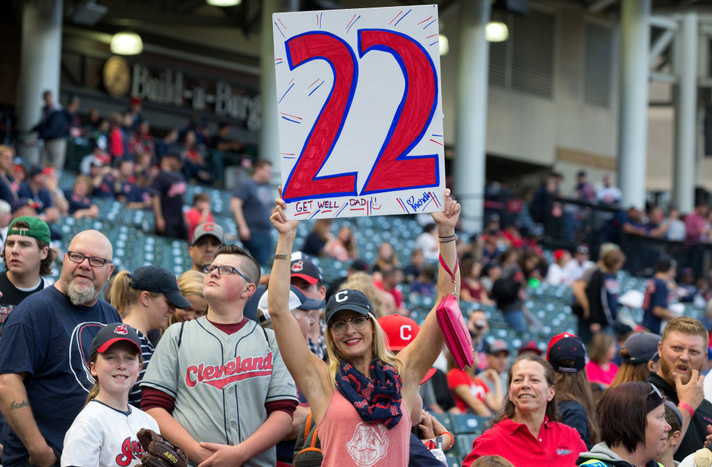CLEVELAND, OH - SEPTEMBER 14: A Cleveland Indians fan holds up a sign prior to the Major League Baseball game between the Kansas City Royals and Cleveland Indians on September 14, 2017, at Progressive Field in Cleveland, OH. (Photo by Frank Jansky/Icon Sportswire via Getty Images)