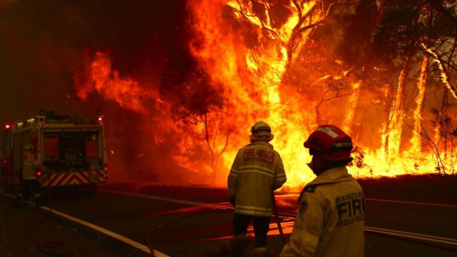 SYDNEY, AUSTRALIA - DECEMBER 19: Fire and Rescue personal run to move their truck as a bushfire burns next to a major road and homes on the outskirts of the town of Bilpin on December 19, 2019 in Sydney, Australia. NSW Premier Gladys Berejiklian has declared a state of emergency for the next seven days with ongoing dangerous fire conditions and almost 100 bushfires burning across the state. It's the second state of emergency declared in NSW since the start of the bushfire season.  (Photo by David Gray/Getty Images)